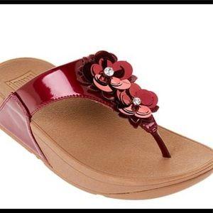 FitFlop NIB Lulu Wildflower sandal metallic Red 10